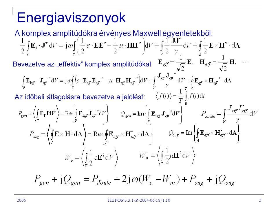 """Energiaviszonyok A komplex amplitúdókra érvényes Maxwell egyenletekből: Bevezetve az """"effektiv komplex amplitúdókat."""
