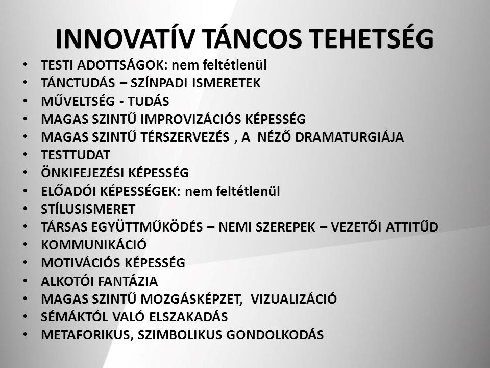 INNOVATÍV TÁNCOS TEHETSÉG