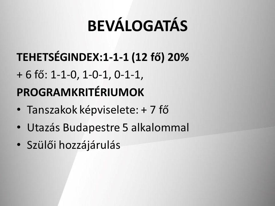 BEVÁLOGATÁS TEHETSÉGINDEX:1-1-1 (12 fő) 20%