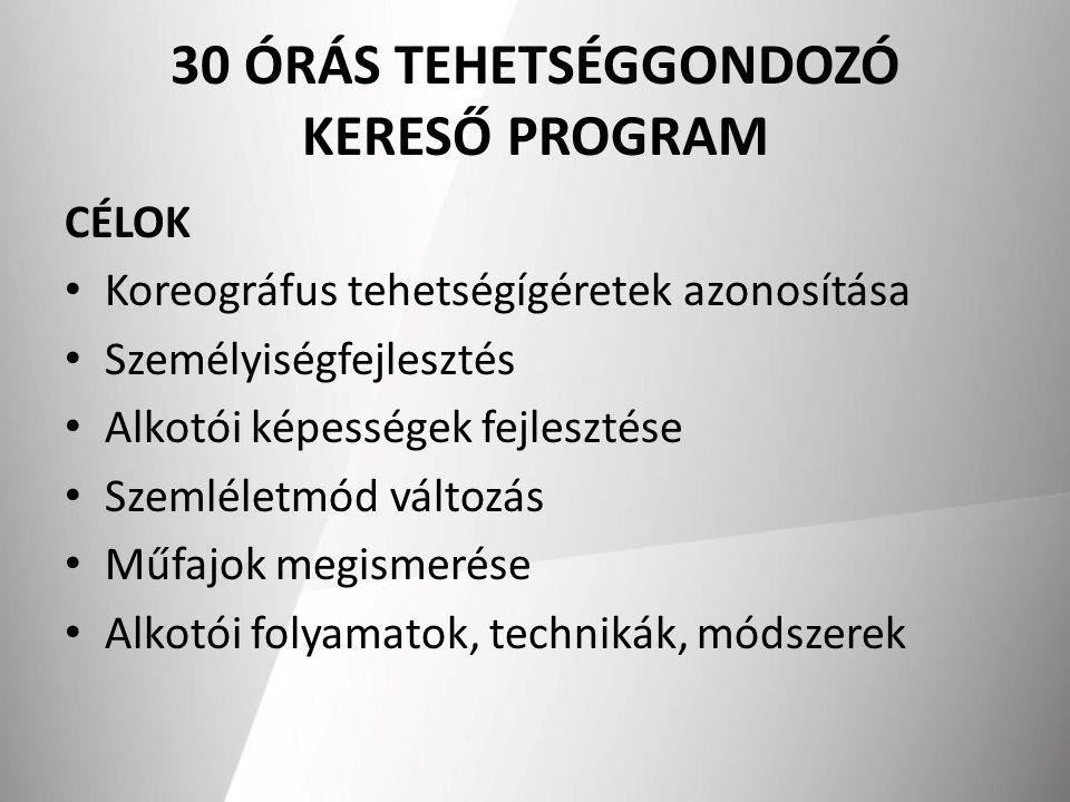 30 ÓRÁS TEHETSÉGGONDOZÓ KERESŐ PROGRAM