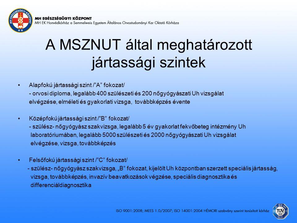 A MSZNUT által meghatározott jártassági szintek