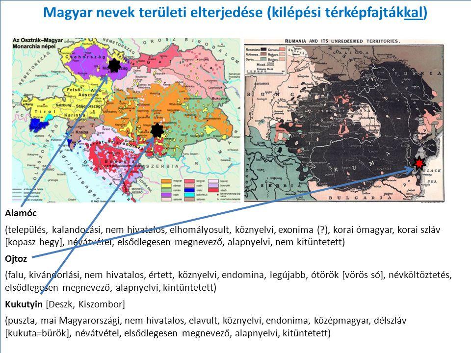 Magyar nevek területi elterjedése (kilépési térképfajtákkal)