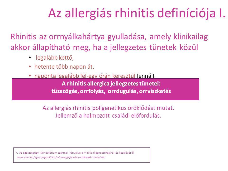 Az allergiás rhinitis definíciója I. 7