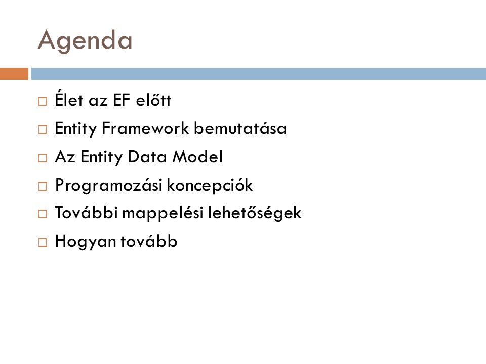 Agenda Élet az EF előtt Entity Framework bemutatása
