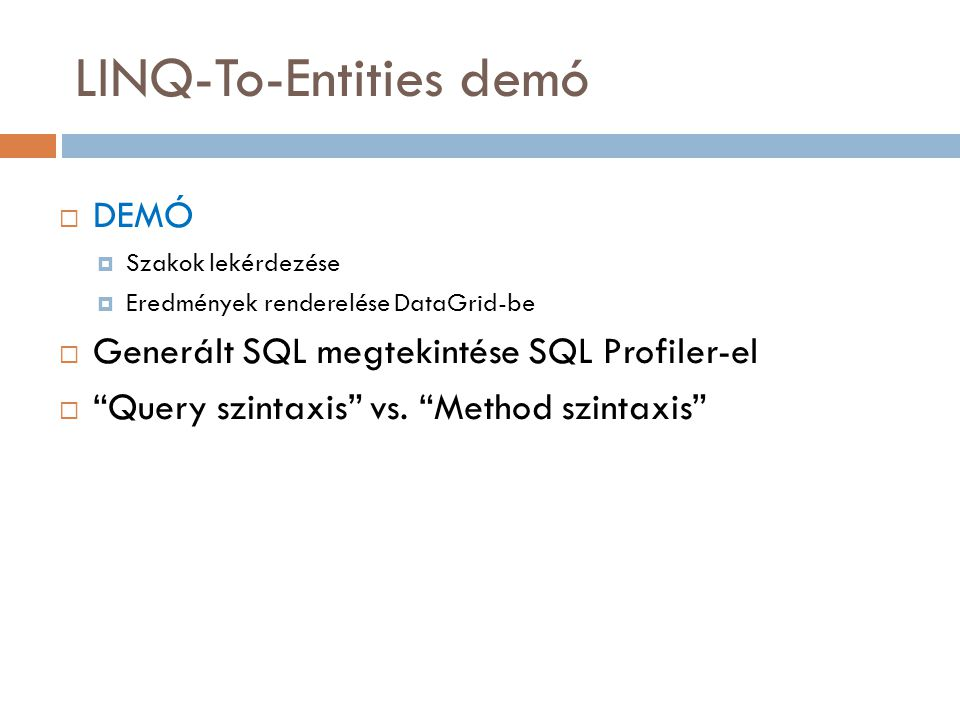 LINQ-To-Entities demó