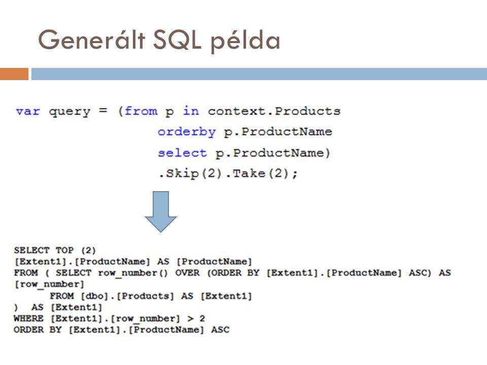 Generált SQL példa
