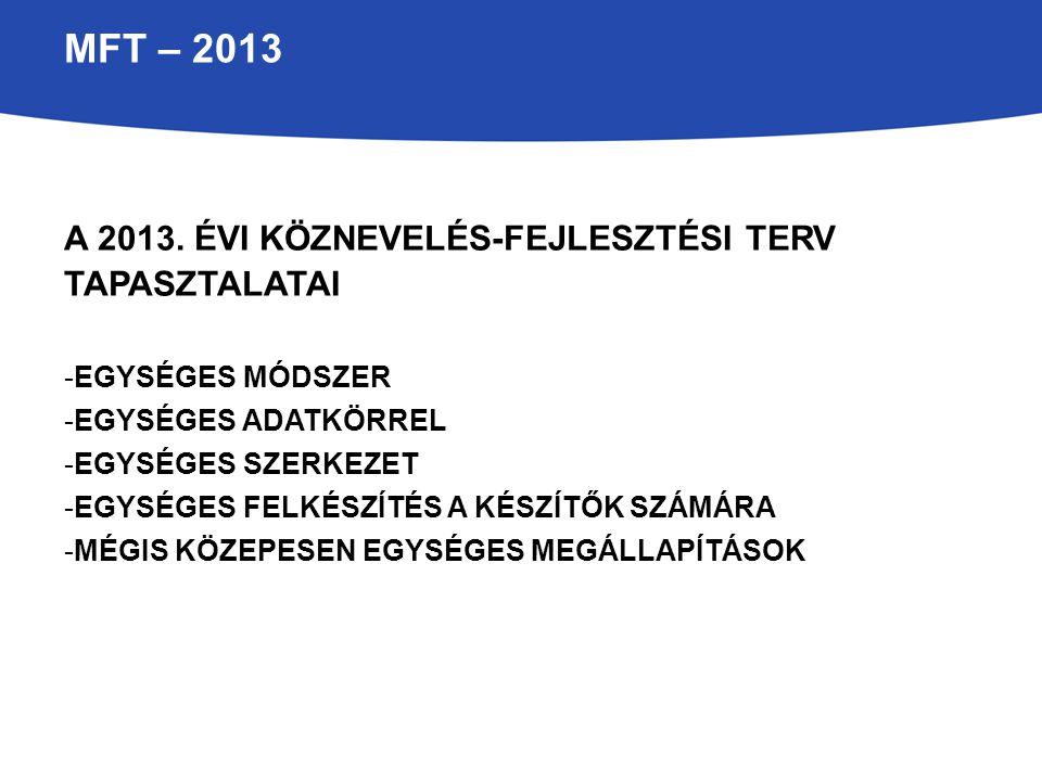 MFT – 2013 A 2013. évi köznevelés-fejlesztési terv tapasztalatai