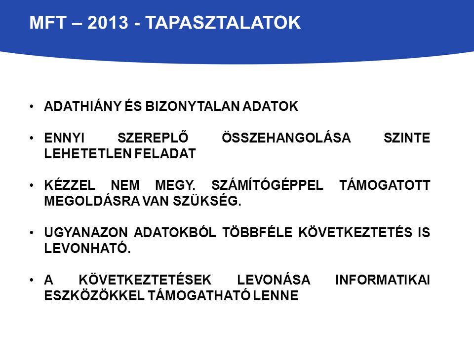 MFT – 2013 - tapasztalatok Adathiány és bizonytalan adatok