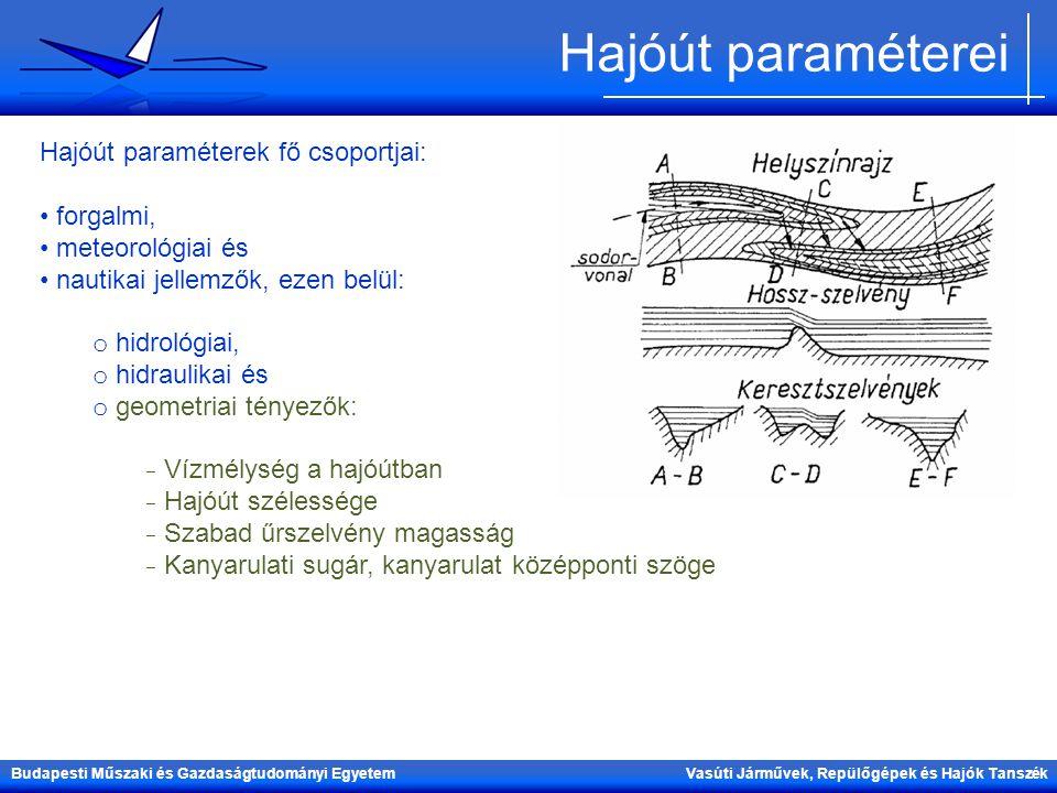 Hajóút paraméterei Hajóút paraméterek fő csoportjai: forgalmi,