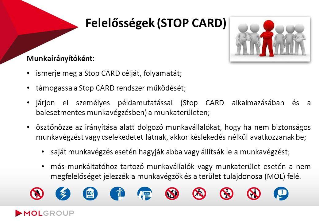 Mit kell rögzíteni a STOP CARD-on
