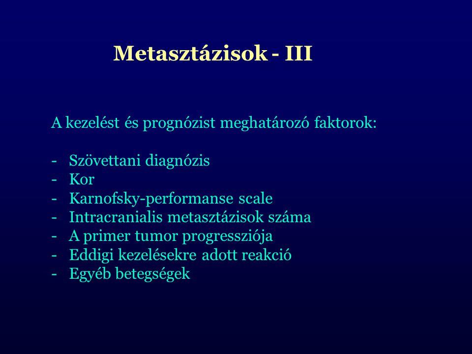 Metasztázisok - III A kezelést és prognózist meghatározó faktorok: Szövettani diagnózis. Kor. Karnofsky-performanse scale.