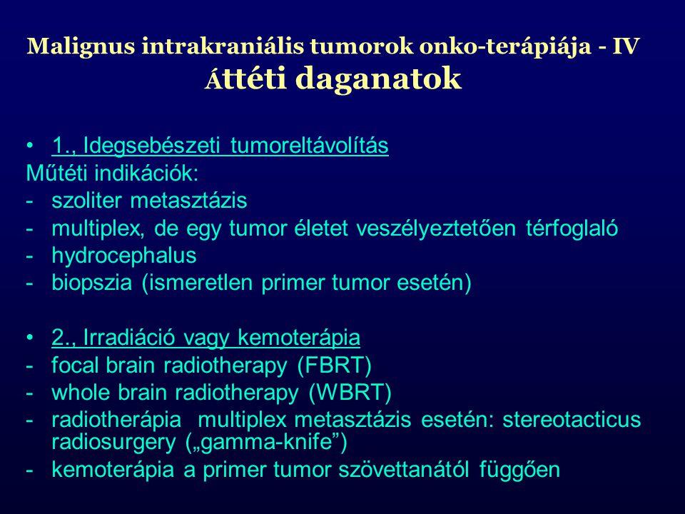 Malignus intrakraniális tumorok onko-terápiája - IV Áttéti daganatok