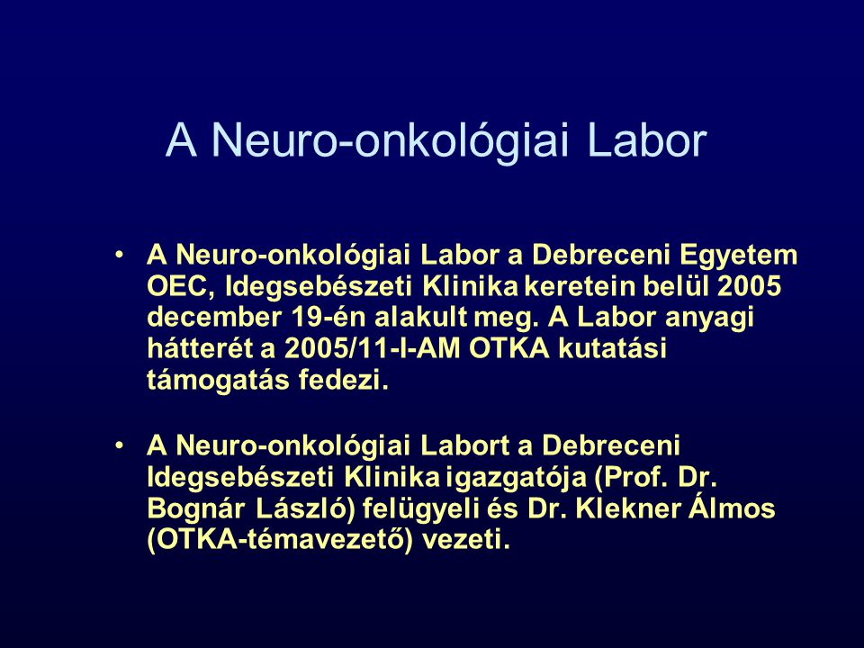 A Neuro-onkológiai Labor