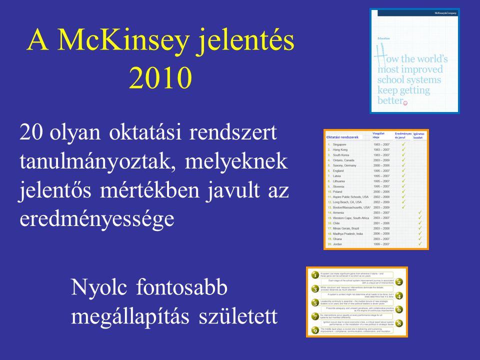 A McKinsey jelentés 2010 20 olyan oktatási rendszert tanulmányoztak, melyeknek jelentős mértékben javult az eredményessége.