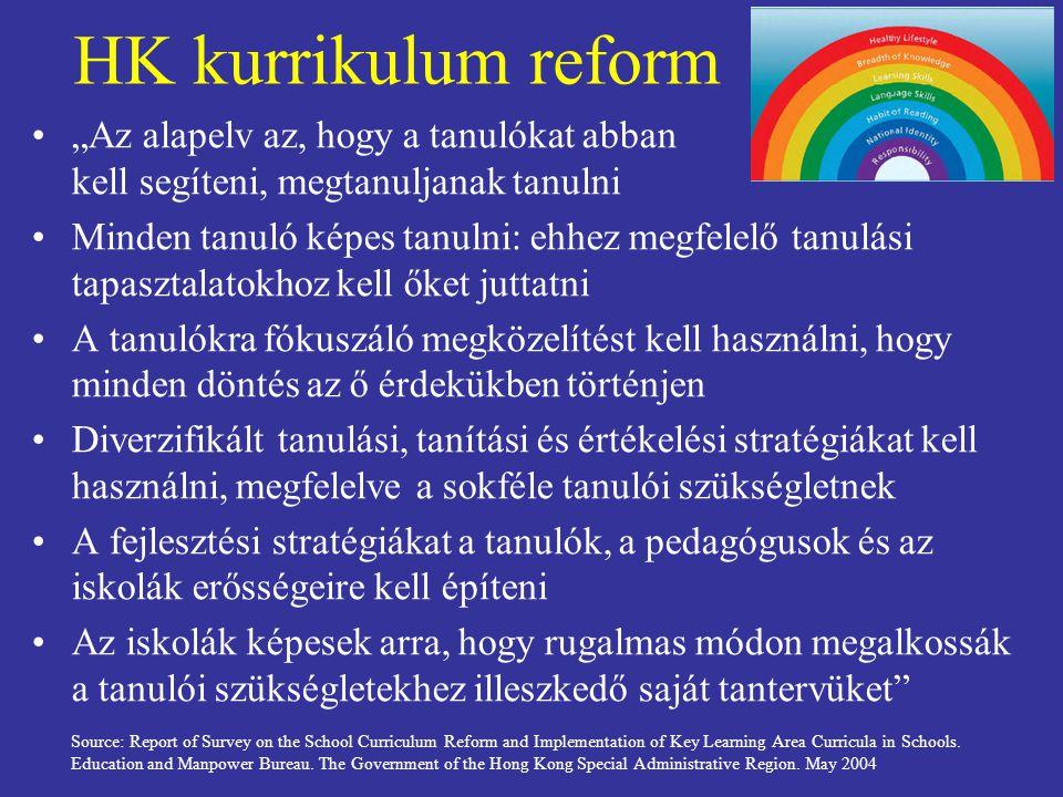 """HK kurrikulum reform """"Az alapelv az, hogy a tanulókat abban kell segíteni, megtanuljanak tanulni."""