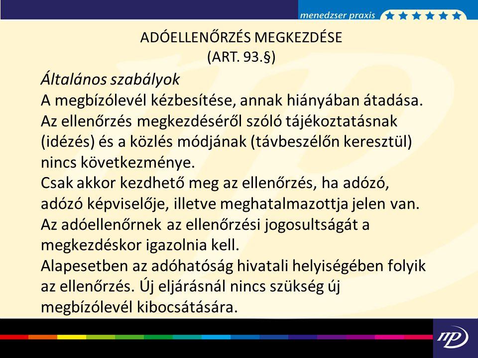 ADÓELLENŐRZÉS MEGKEZDÉSE