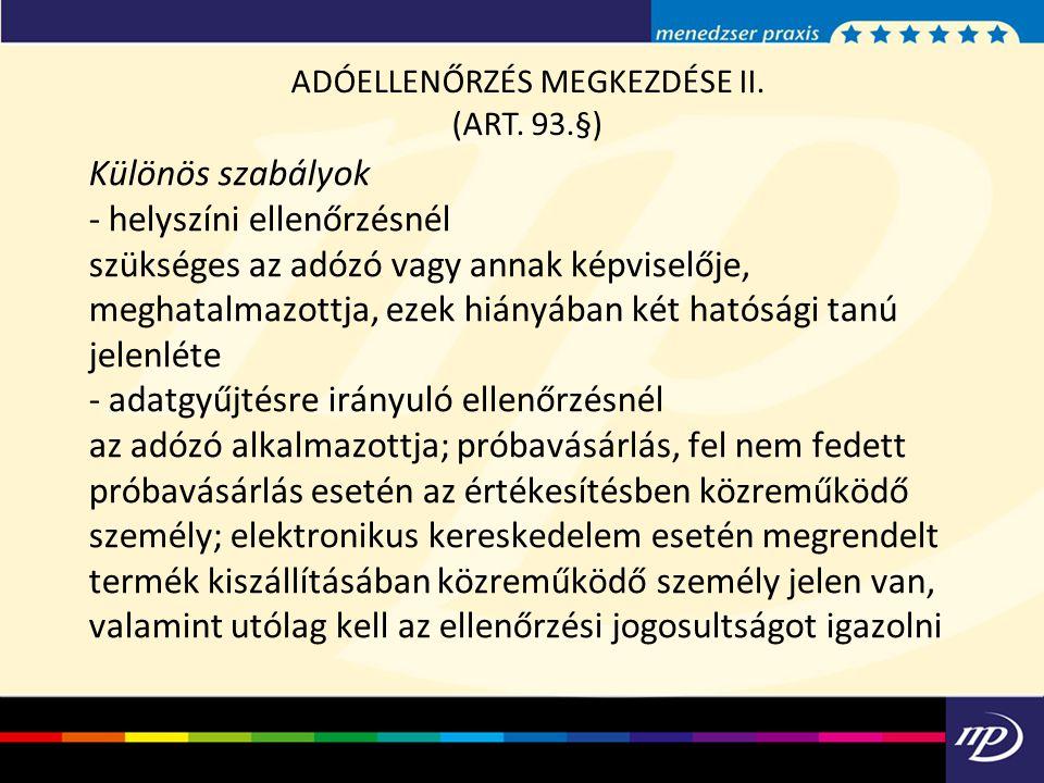 ADÓELLENŐRZÉS MEGKEZDÉSE II.