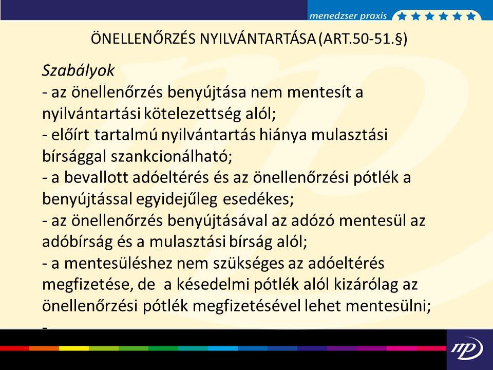 ÖNELLENŐRZÉS NYILVÁNTARTÁSA (ART.50-51.§)