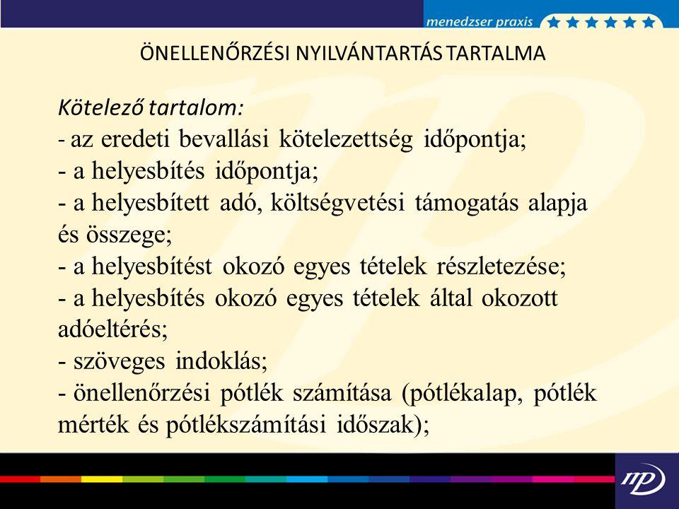 ÖNELLENŐRZÉSI NYILVÁNTARTÁS TARTALMA