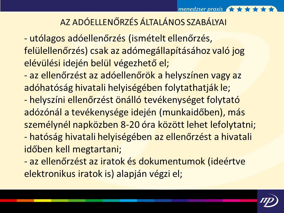 AZ ADÓELLENŐRZÉS ÁLTALÁNOS SZABÁLYAI