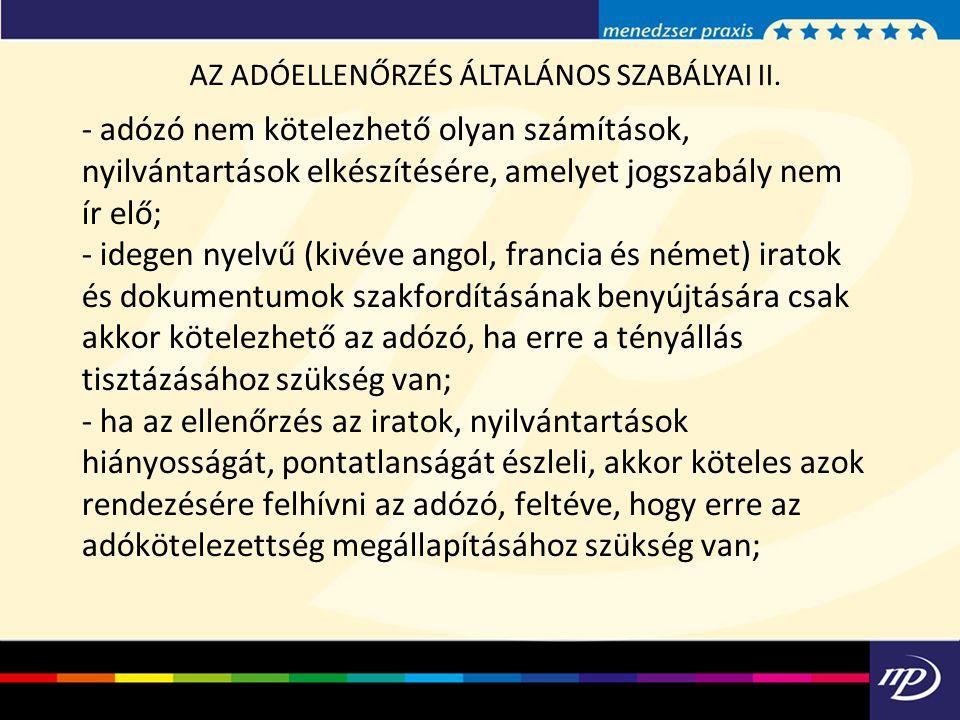 AZ ADÓELLENŐRZÉS ÁLTALÁNOS SZABÁLYAI II.