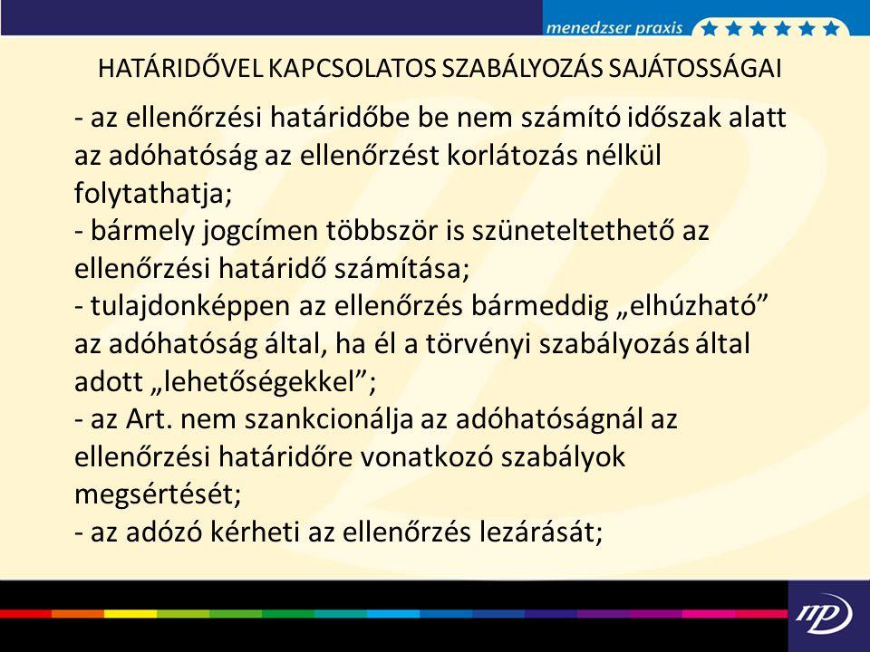 HATÁRIDŐVEL KAPCSOLATOS SZABÁLYOZÁS SAJÁTOSSÁGAI