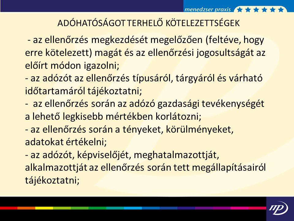 ADÓHATÓSÁGOT TERHELŐ KÖTELEZETTSÉGEK