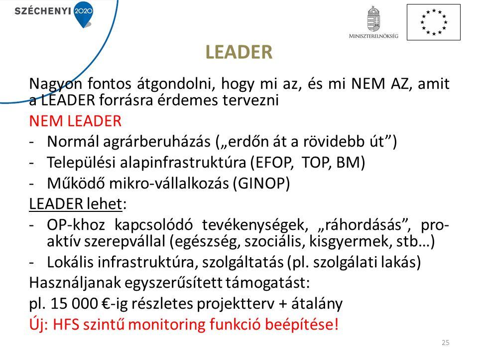 LEADER Nagyon fontos átgondolni, hogy mi az, és mi NEM AZ, amit a LEADER forrásra érdemes tervezni.