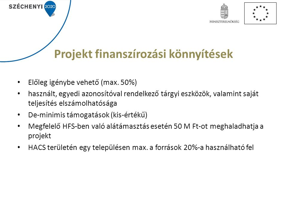 Projekt finanszírozási könnyítések