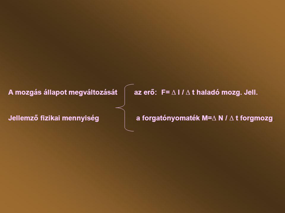 A mozgás állapot megváltozását az erő: F= ∆ I / ∆ t haladó mozg. Jell.
