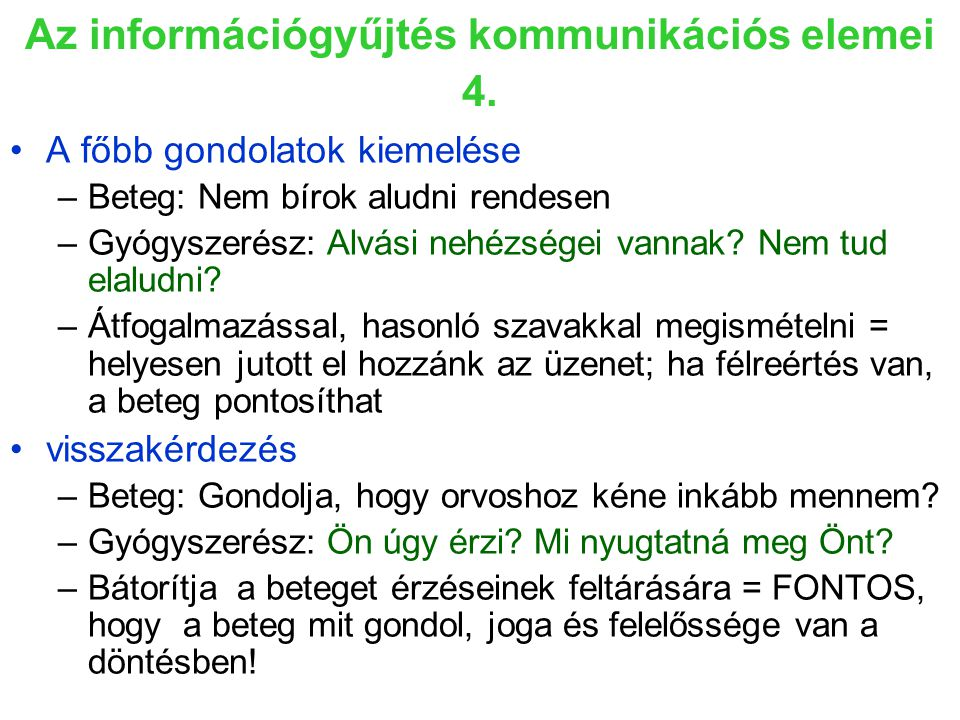 Az információgyűjtés kommunikációs elemei 4.