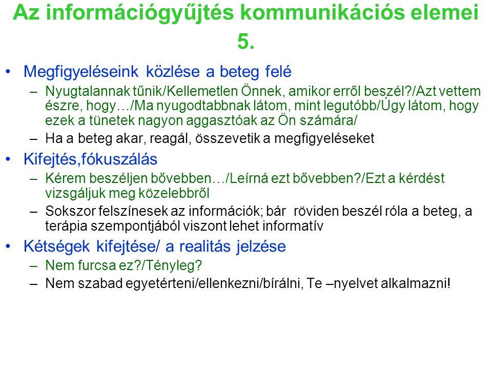 Az információgyűjtés kommunikációs elemei 5.