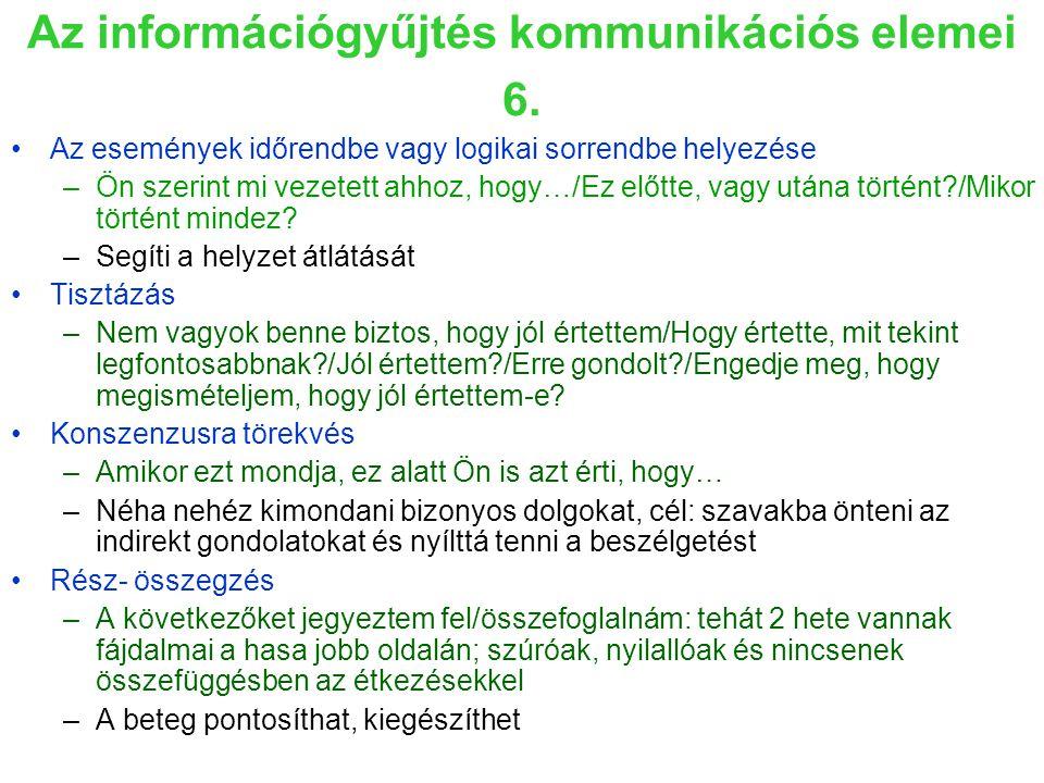 Az információgyűjtés kommunikációs elemei 6.