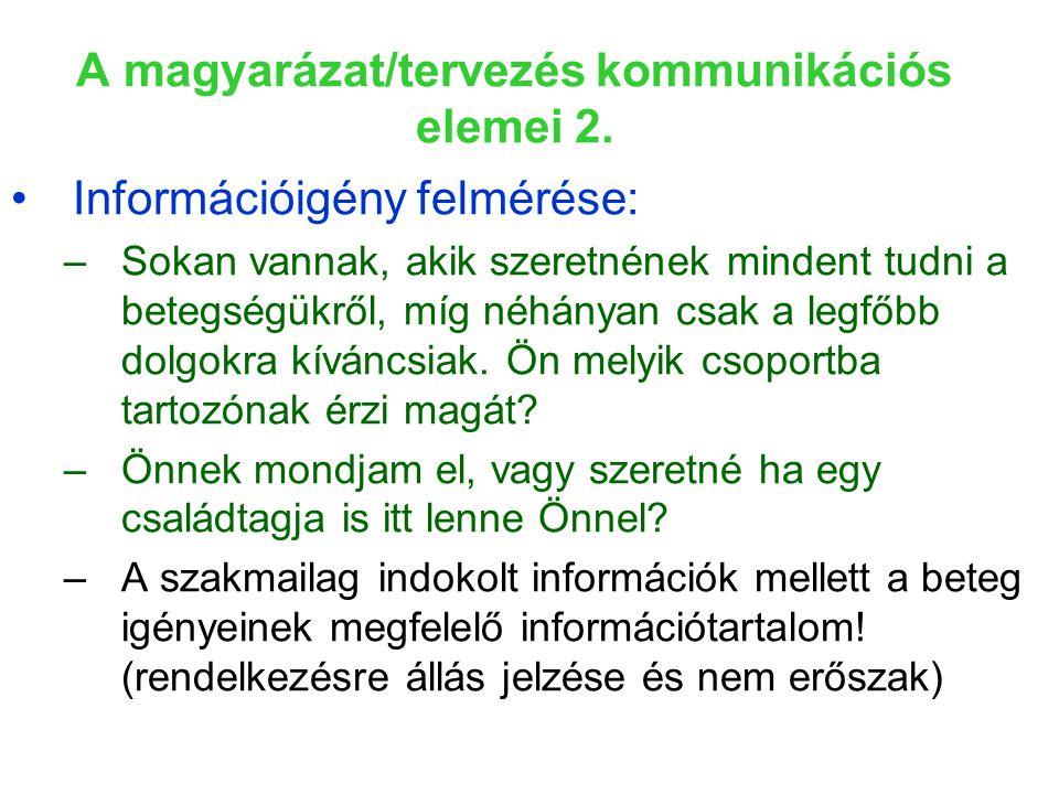 A magyarázat/tervezés kommunikációs elemei 2.