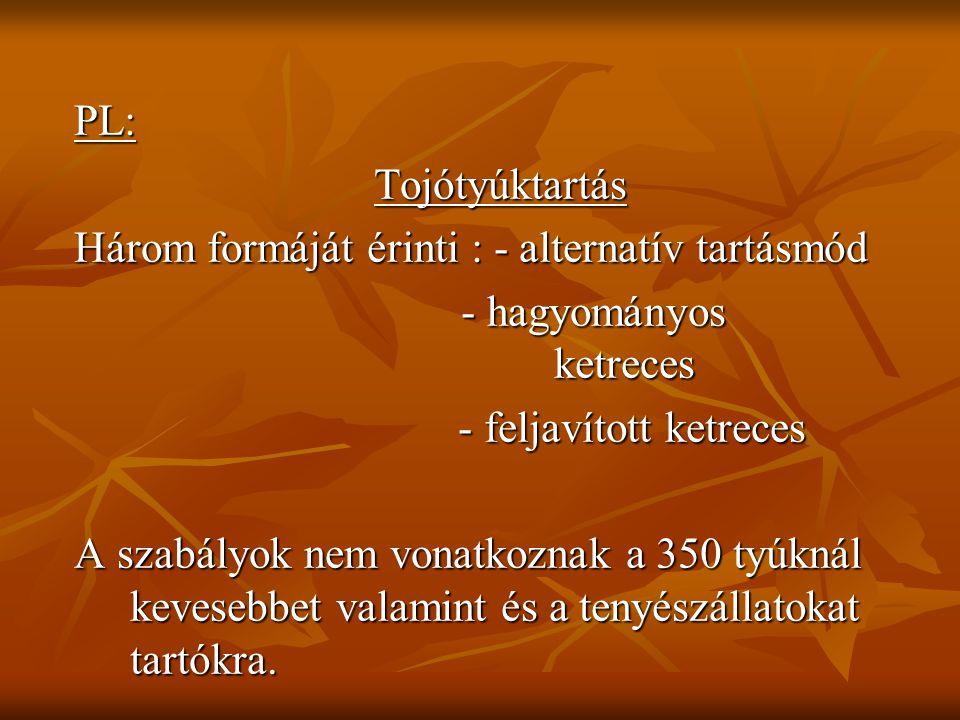 PL: Tojótyúktartás. Három formáját érinti : - alternatív tartásmód. - hagyományos ketreces.