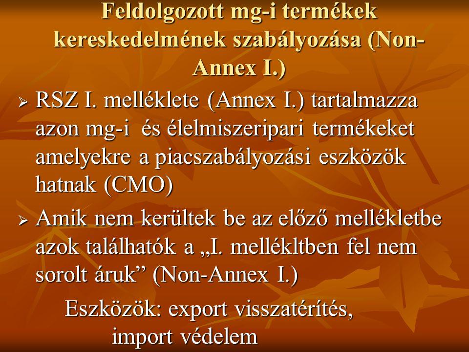 Feldolgozott mg-i termékek kereskedelmének szabályozása (Non-Annex I.)