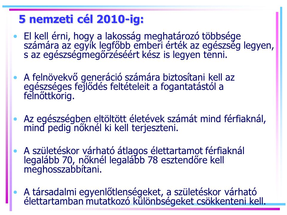 5 nemzeti cél 2010-ig: