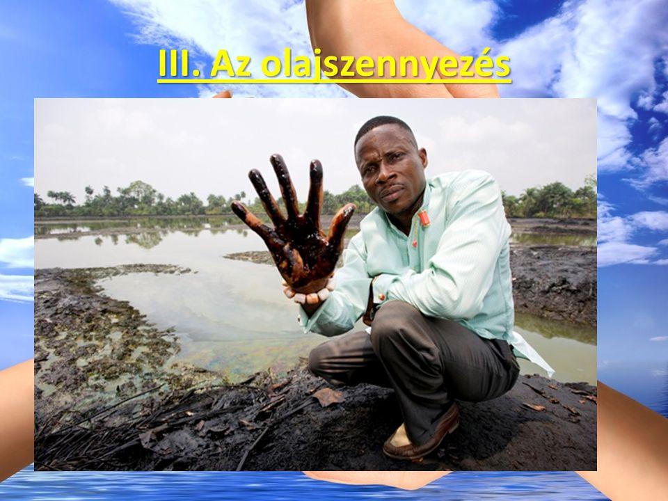 III. Az olajszennyezés 1987-ben világszerte több mint 3,5 millió tonna olaj került a vizekbe. Okok: