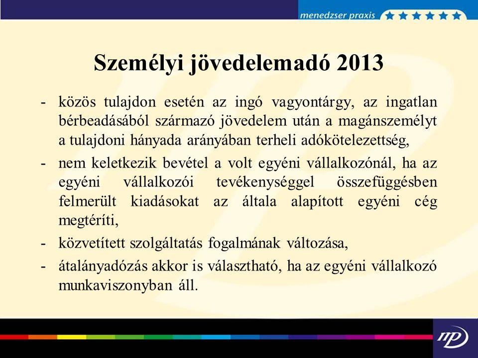 Személyi jövedelemadó 2013