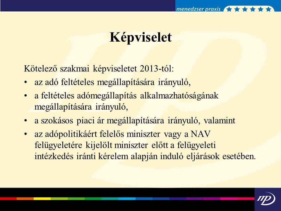 Képviselet Kötelező szakmai képviseletet 2013-tól: