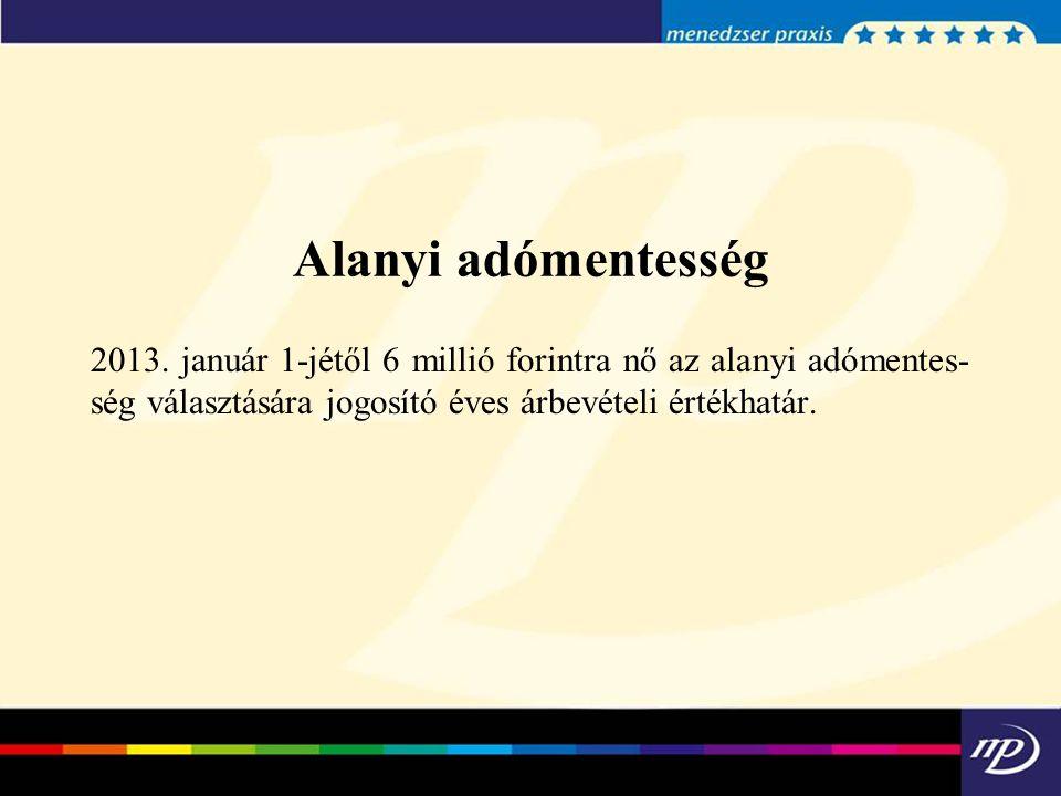 Alanyi adómentesség 2013.