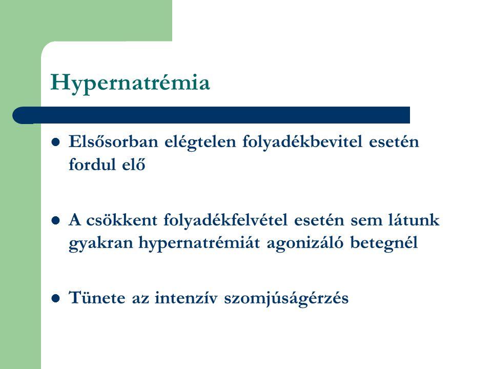 Hypernatrémia Elsősorban elégtelen folyadékbevitel esetén fordul elő