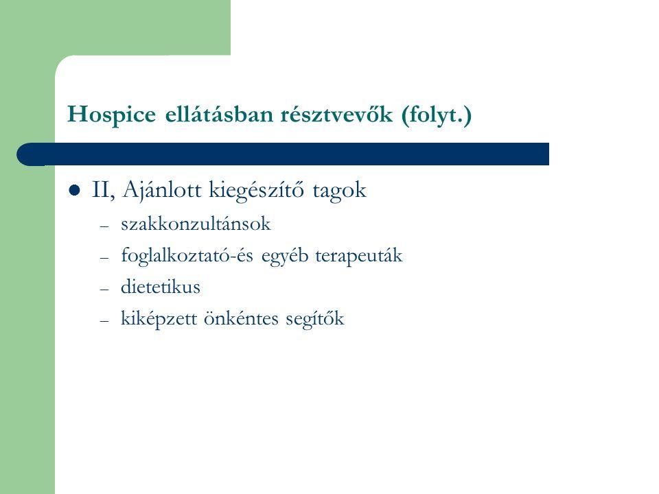 Hospice ellátásban résztvevők (folyt.)