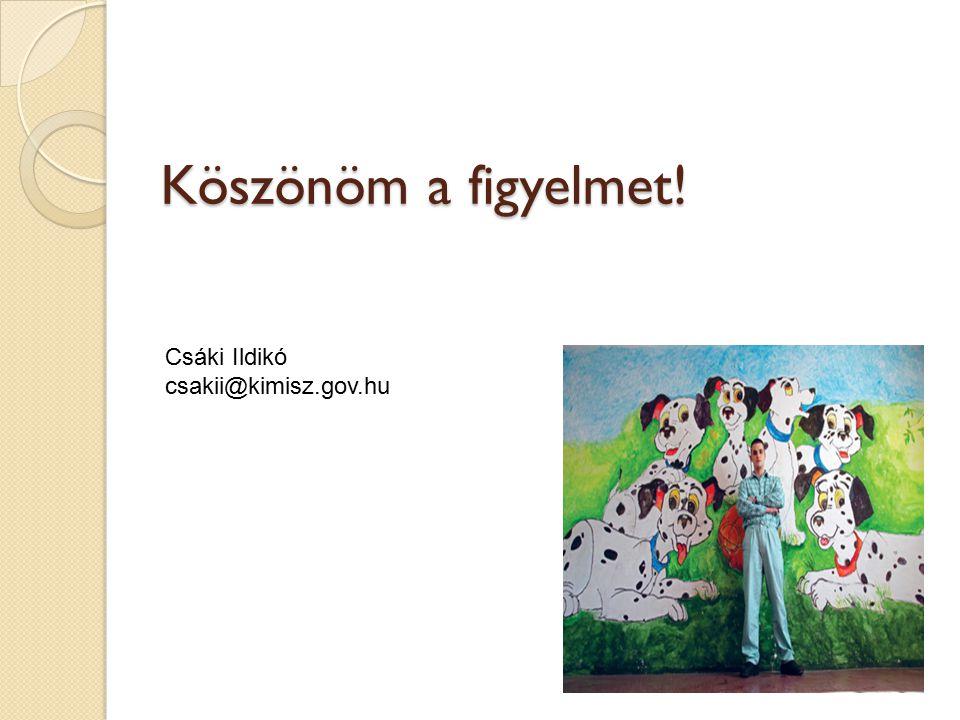 Köszönöm a figyelmet! Csáki Ildikó csakii@kimisz.gov.hu
