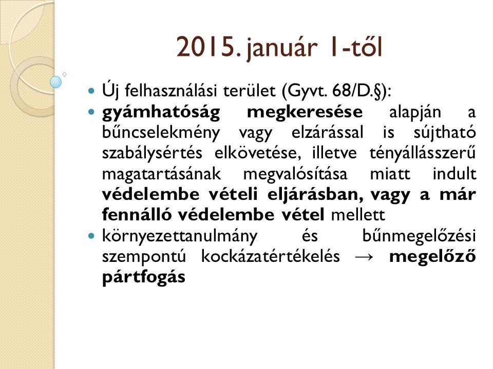 2015. január 1-től Új felhasználási terület (Gyvt. 68/D.§):