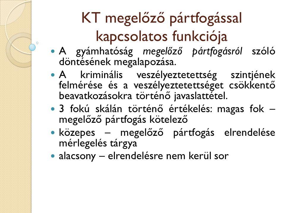 KT megelőző pártfogással kapcsolatos funkciója