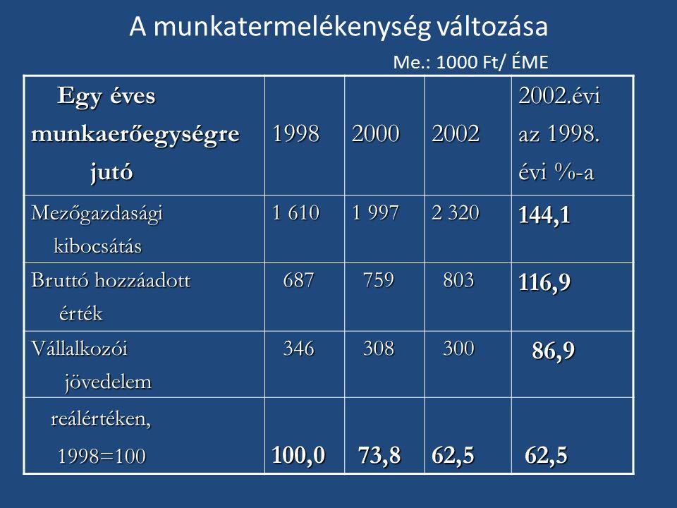 A munkatermelékenység változása Me.: 1000 Ft/ ÉME