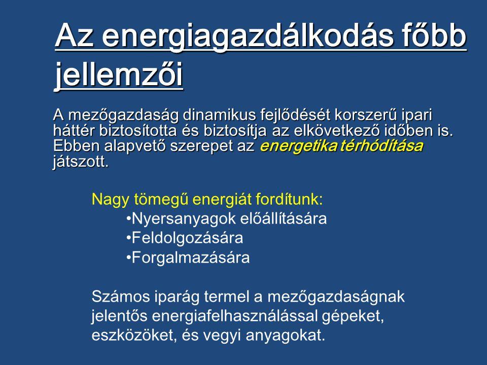 Az energiagazdálkodás főbb jellemzői