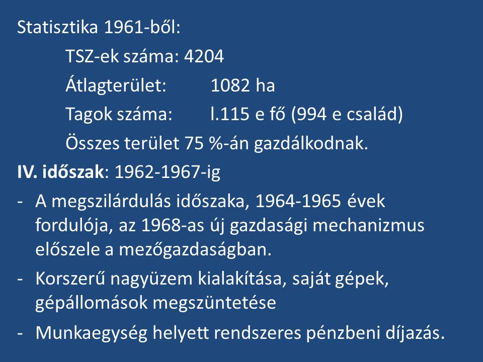 Statisztika 1961-ből: TSZ-ek száma: 4204. Átlagterület: 1082 ha. Tagok száma: l.115 e fő (994 e család)