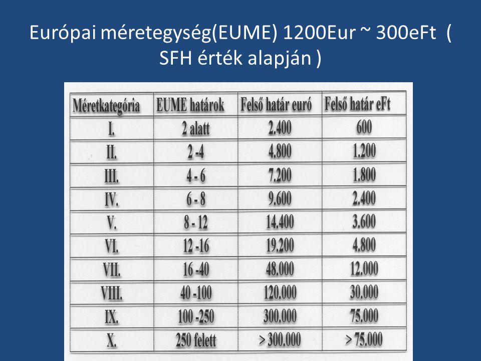 Európai méretegység(EUME) 1200Eur ~ 300eFt ( SFH érték alapján )